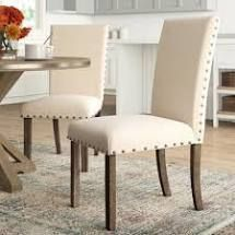 PAIR OF Ismay linen Upholstered Dining Chairs in Beige
