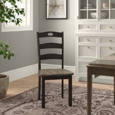 PAIR OF Carrol ladder Back Side Chair in Black Brown