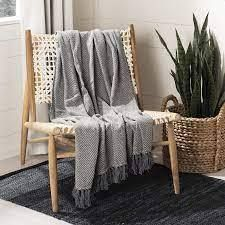 Amada Throw Blanket Gray   Safavieh