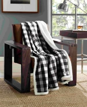 50 x60  Cabin Plaid Throw Blanket Black White   Eddie Bauer