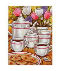 Coffee Sugar Cream Acrylic Painting Print on Wrapped Canvas