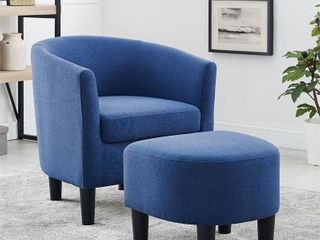 Jazouli linen Barrel Chair and Ottoman Upholstered