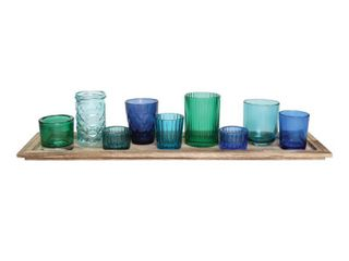3R Studio 10 Pc  Wood Tray   Green Glass Votive Holders