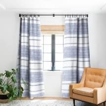 PAIR OF Holli Zollinger Capri Stripes Blackout Pinch Pleat Curtains