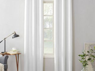 PAIR OF 95 x48  Montego Casual Textured Grommet Curtain Panel White   No  918
