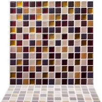 12  x 12  PVC Peel and Stick Mosaic Tile in Maple 10PC