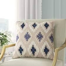 Baca Square Cotton Pillow Cover Blue  Tan  White