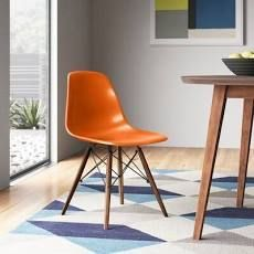 Cory Solid Wood Dining Chair Orange Walnut