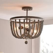 Zander Semi Flush Mount   Golden Bronze with Gray Wood Beads  Retail 146 99
