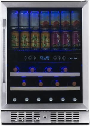 NewAir   20 Bottle and 70 Can Dual Zone Wine and Beverage Fridge in Stainless Steel with SplitShelf and Smooth Rolling Shelves   Stainless steel