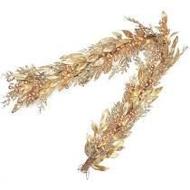 Martha Stewart 5 foot lit Glittered Fern Garland Champagne