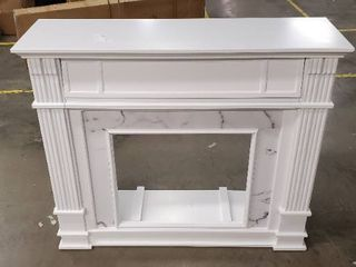 White Wood and Faux Marble Fireplace Mantle
