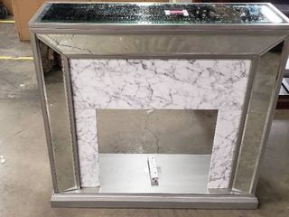 Silver Orchid Tranton Glam Mirror Electric Fireplace Mantle  Broken Front