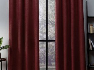 Set of 2 84 x52  Oxford Textured Sateen Thermal Room Darkening Grommet Top Window Curtain Panel Chili Red   Exclusive Home