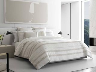 Vera Wang Pucker Grid King Duvet Cover Set Bedding