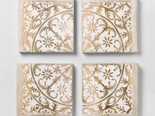 Carved Wood Panel 4pk Decorative Wall Art Set   Opalhouse