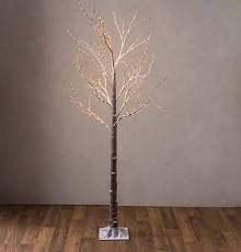 Indoor  Outdoor 6 foot Birch Tree with Remote and Twinkle Brown