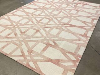 8 x 11 Pink and Off White Area Rug