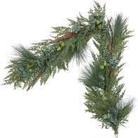 Martha Stewart Indoor  Outdoor 5 foot Prelit Winter Floral Garland Clear