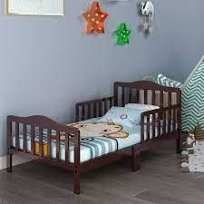 Toddler Bed Classic Design Wood Bed Frame with Two Side Guardrails Retail 127 49