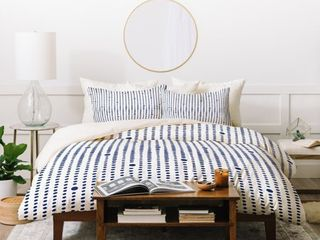 QUEEN SIZE Deny Designs Blue Japandi Dots Duvet Cover Set  3 Piece Set  Retail 214 49