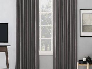 PAIR OF 95 x50  Evelina Faux Dupioni Silk Thermal Extreme 100  Blackout Back Tab Curtain Panel Gray   Sun Zero
