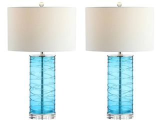 Green Blue  Cole 27 5  Modern Fused Glass Cylinder lED Table lamp  Turquoise  Set of 2  by JONATHAN Y  Retail 137 99