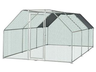 BOX 1 3 Pawhut Galvanized Metal Chicken Coop Cage with Cover  Walk In Pen Run   N A   9  W x 18 5  D x 6 5  H Retail 738 49