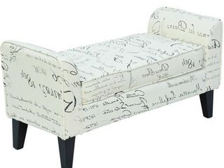 HomCom 42  Modern linen Armed Sofa Seat   Shoe Bench   Signature Print Retail 119 99