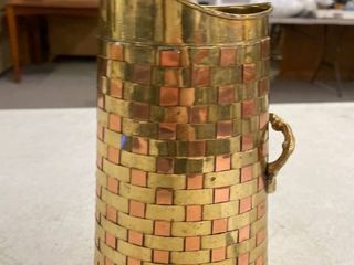 Basket weave copper and brass pitcher vase