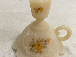 Fenton handpainted custard finger candle holder  Jackie Delancey  signed