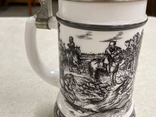 Vintage original BMF Biersiedel milk glass stein with pewter top and hunting scene