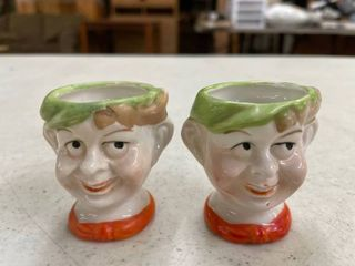 Pair of vintage 1930 s porcelain egg cups