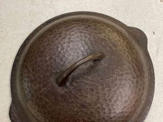 Vintage CHF Hammered Cast Iron lid 9 75  diameter  unmarked