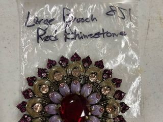 large Red Rhinestone Brooch unmarked