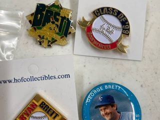 George Brett pins button from Class of  99 HOF