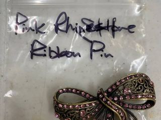 Pink rhinestone ribbon pin