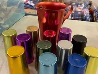 1 pitcher Colorcraft with 12 Bascal  made in Italy  alumininum cups