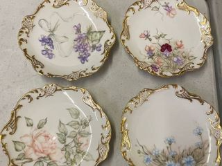 Set of 4 Jean Pouyat limoge Floral Plates from 1894