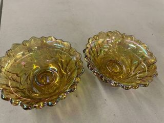 Pair of Indiana Glass Wild Rose Carnival Glass Candle Holders