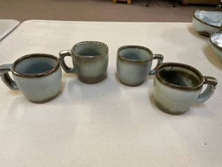 Set of 4 Frankoma Woodland Moss Coffe Cups