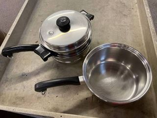 4 pc  Saladmaster Double Boiler w lid Pan Strainer Double Boiler