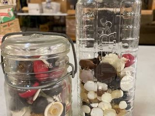 2 Glass Jars with Buttons