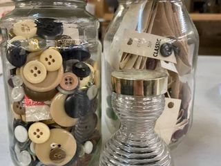 3 Glass Jars with Buttons