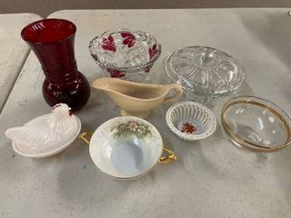 lot of vintage glassware
