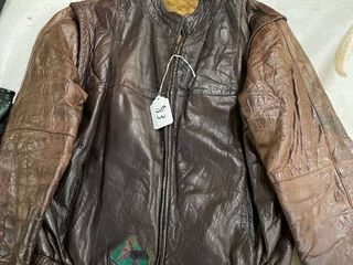 Men s leather Two Tone Bomber Jacket with Strategic Air Command Patch