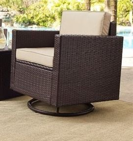 Palm Harbor 1 pc Outdoor Wicker Conversation Set With Sand Cushions  Retail 438 99