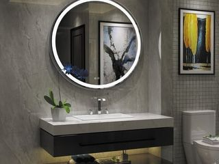 Round Frameless Wall mounted lED Bathroom Mirror   Colorless  Retail 216 49
