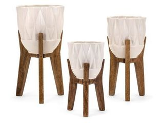 Amara Vases on Wood Stands   Set of 3   White and Brown   Benzara  Retail 167 99