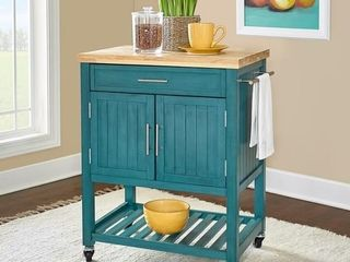 The Curated Nomad Coyote Teal Kitchen Cart  Retail 329 75
